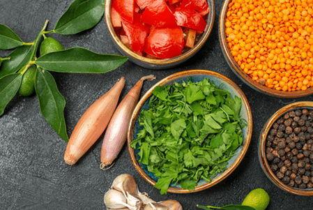 Lentil Tomato And Red Pepper Salad With Cilantro