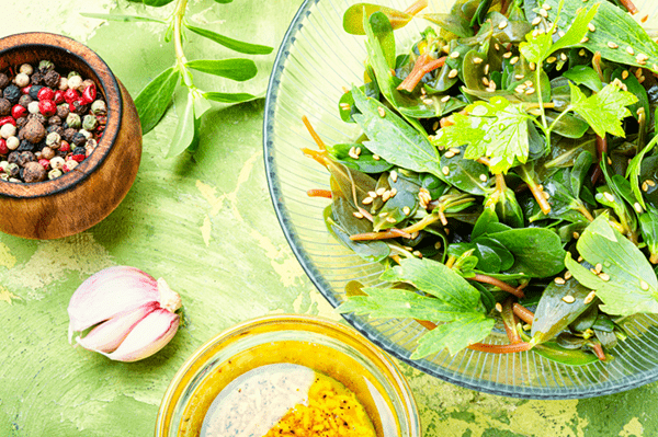 Purslane Salad With Lemon Shallot Dressing