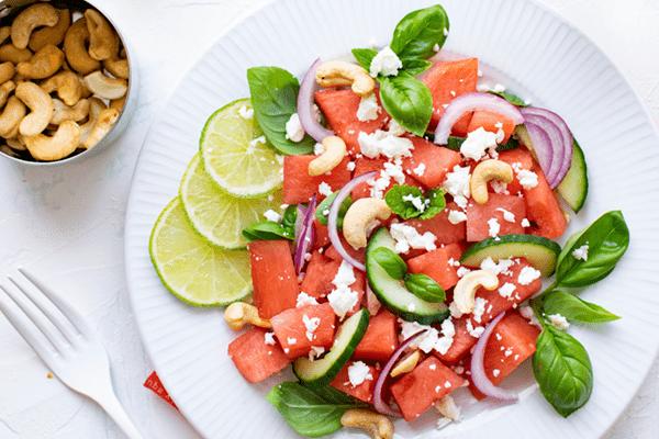 Watermelon Salad With Feta and Tomato