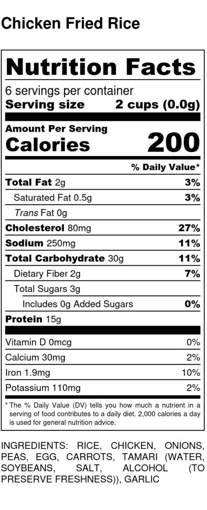 nutrition facts for chicken fried rice