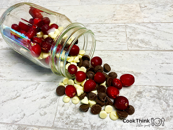 Cranberries, chocolate chips and white chocolate chips