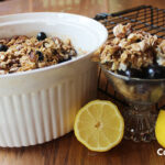 blueberry morning cereal fresh out of the oven with lemons