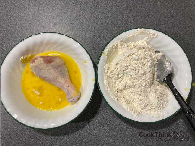 egg and flour with leg dipped