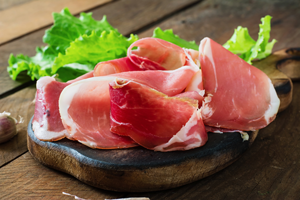 Proscuitto on a cutting board